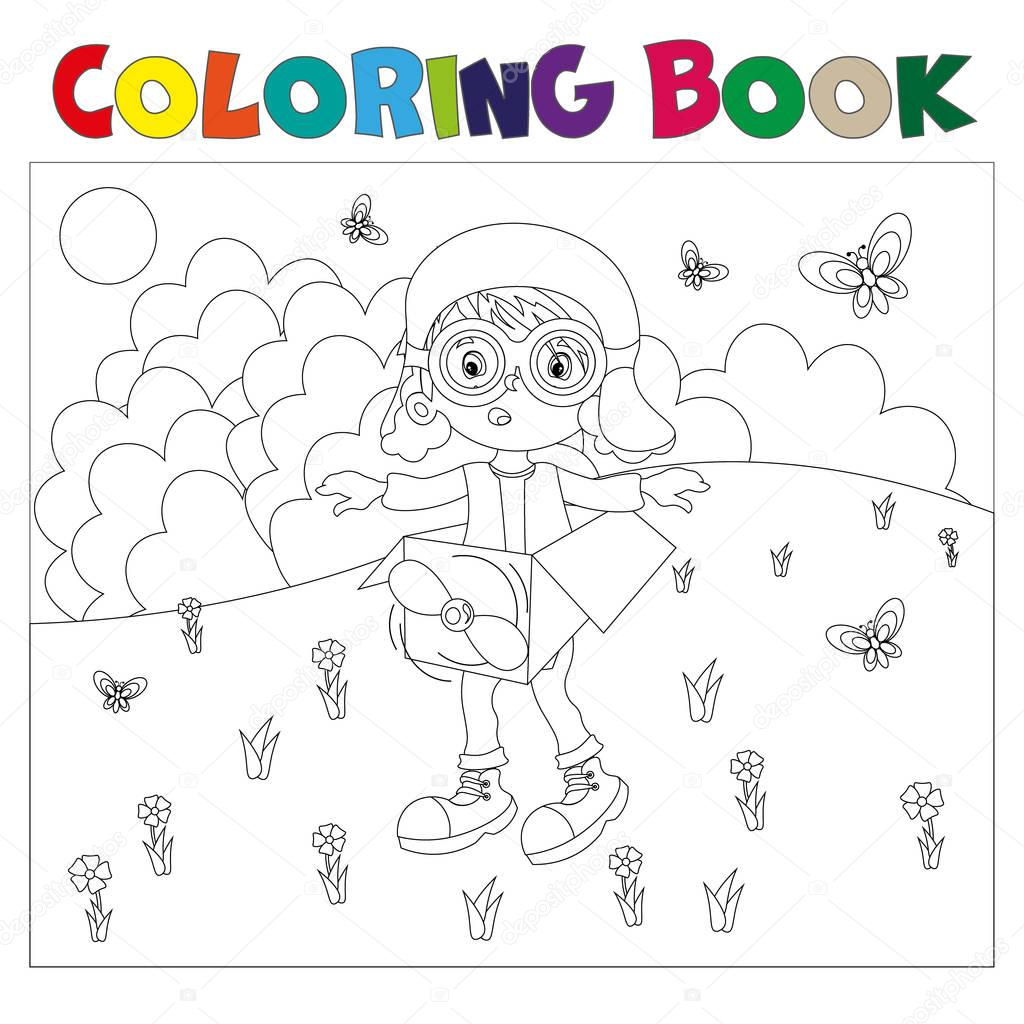 Black and white book-coloring the boy plays in the pilot