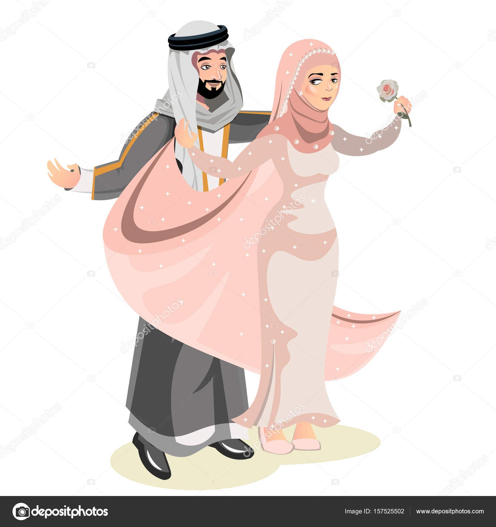 Novio, novia y boda musulmana — Vector de stock © sasha_zerg #157525502