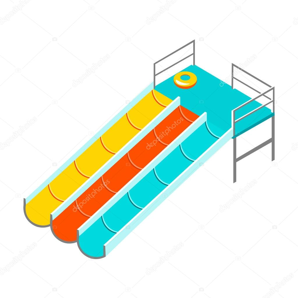 Water colorful slide isolated.