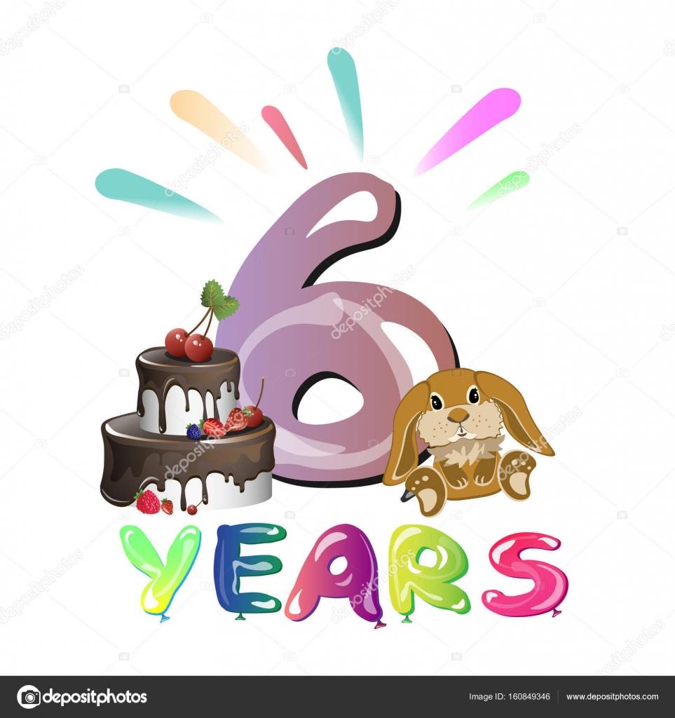 Zesde Verjaardag Gefeliciteerd Met Speelgoed Stockvector