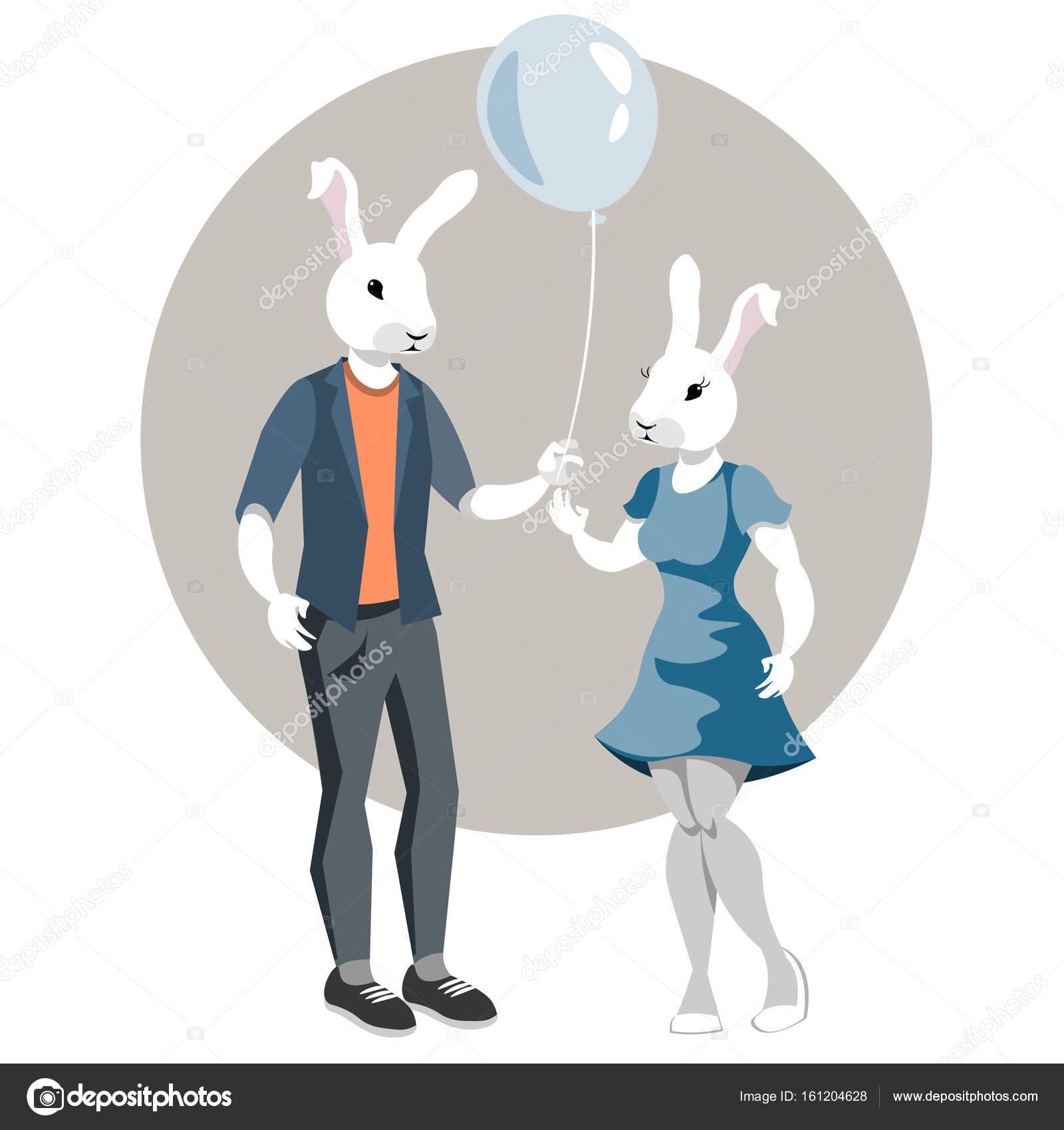 Kaninchen-Boy und Kaninchen Mädchen — Stockvektor © sasha_zerg ...