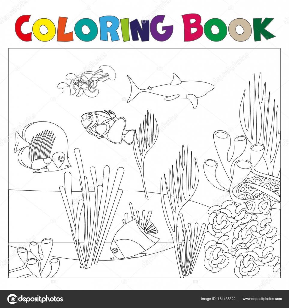 Kleurplaten Onder Water.Onderwater Wereld Pagina Kleurplaten Voor Kids Stockvector