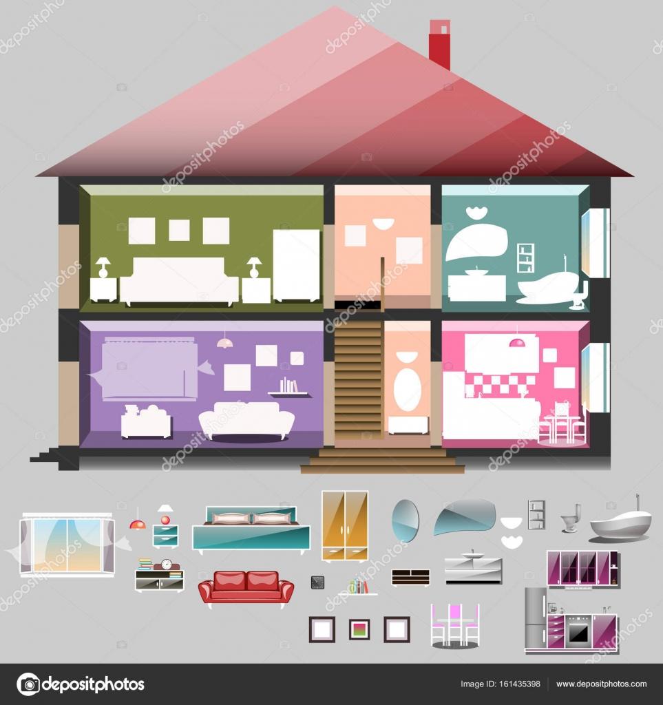 Haus im Schnitt. Zimmer mit Möbeln — Stockvektor © sasha_zerg #161435398