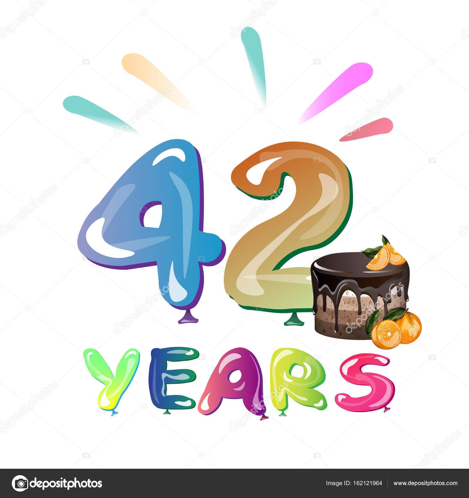 Auguri Buon Compleanno 42 Anni.Vettore 42 Anni Matrimonio Festa Di Compleanno Di 42 Anni
