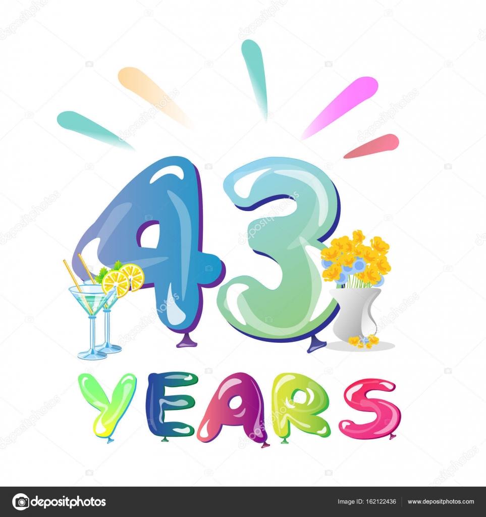 43 Jaar Verjaardag Feest Ballonnen Stockvector C Sasha Zerg 162122436