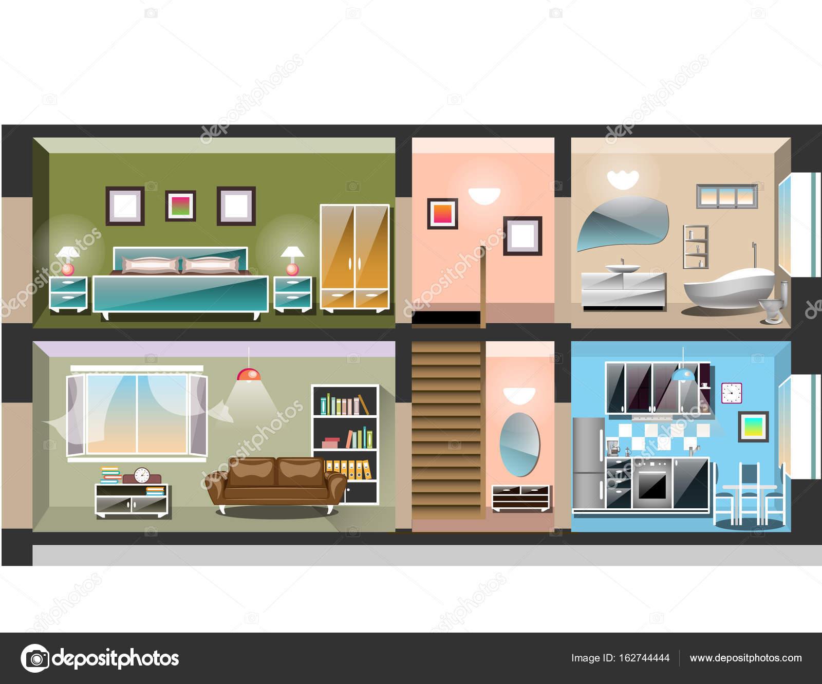 Ausführliche moderne Haus innen — Stockvektor © sasha_zerg #162744444