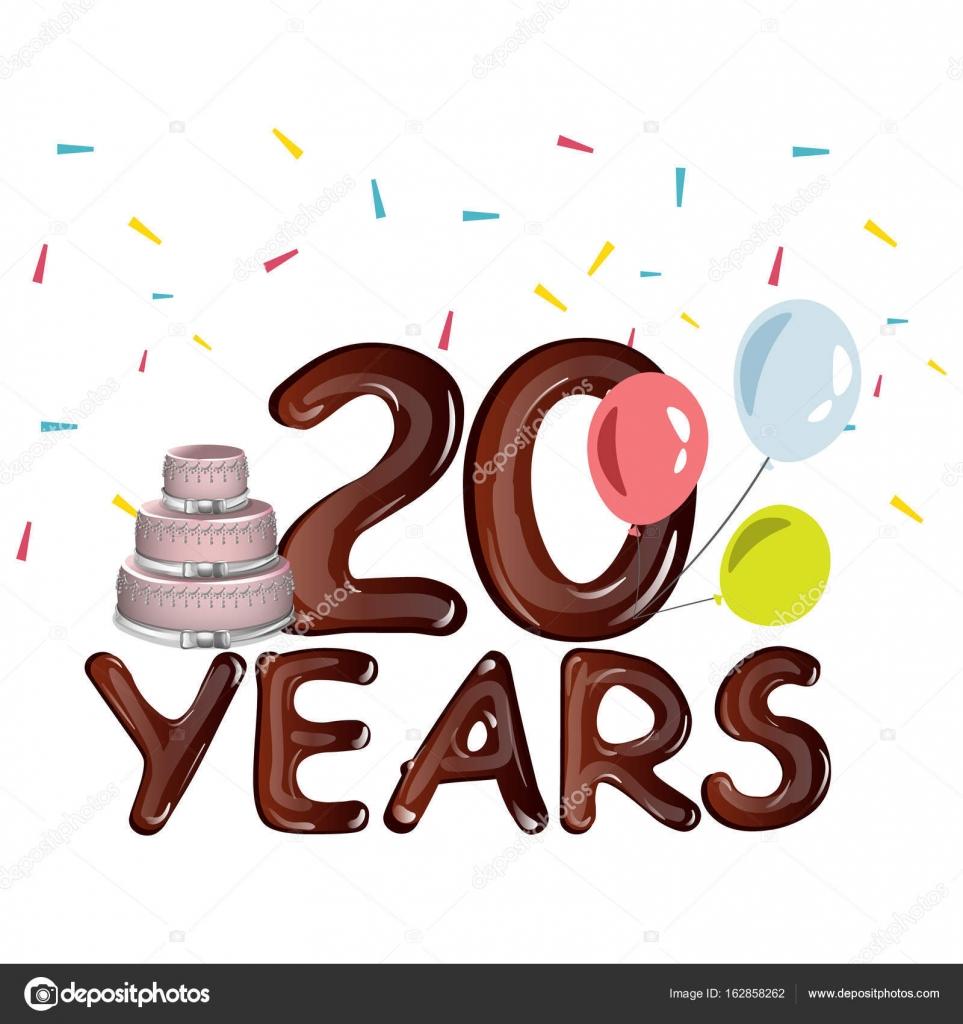 20. jähriges Jubiläum Karte mit Kuchen — Stockvektor © sasha_zerg ...