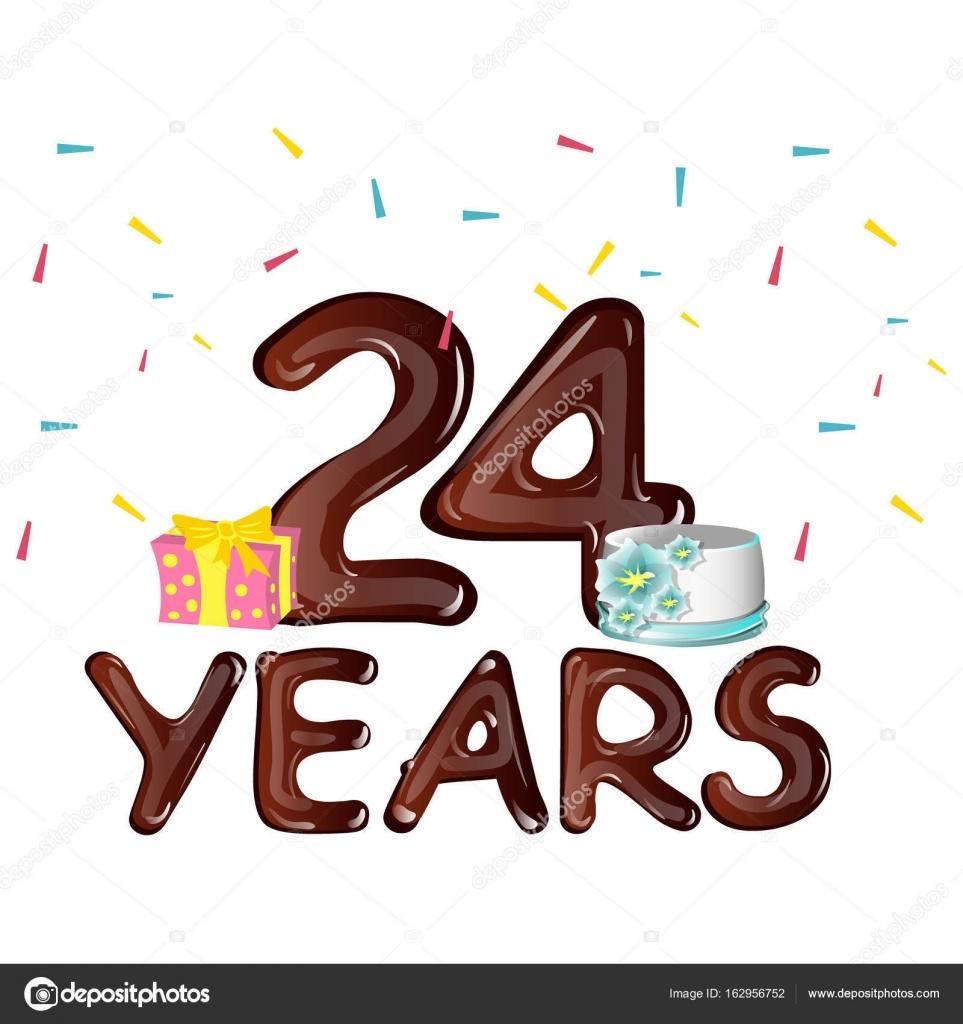 Gelukkige Verjaardag Nummer 24 Wenskaart Stockvector C Sasha Zerg