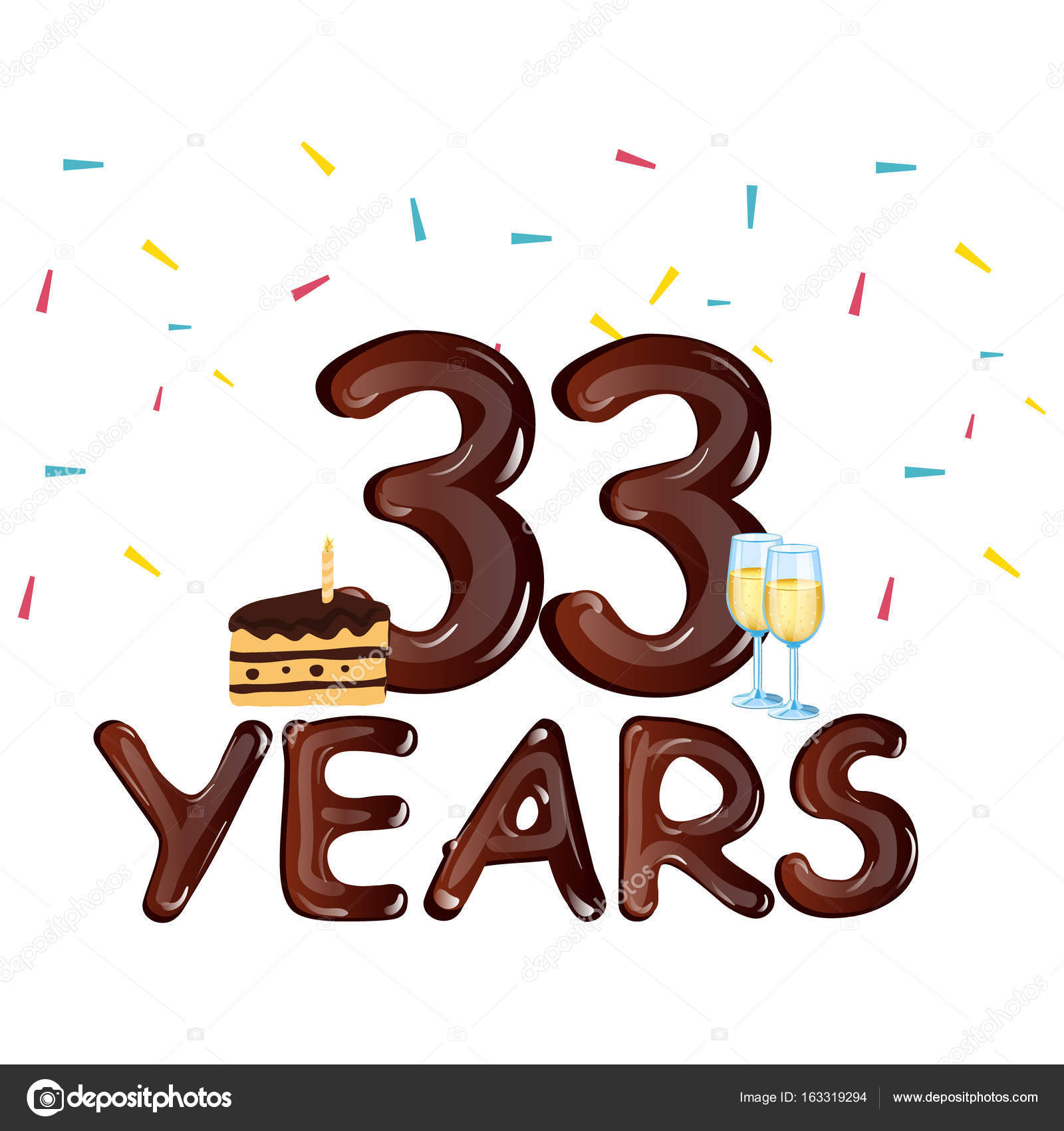 33 year Happy Birthday Card with cake — Stock Vector
