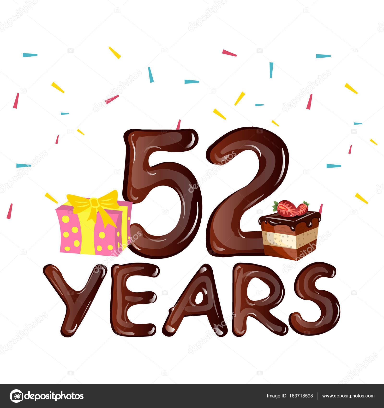 Herzlichen Glückwunsch zum Geburtstag 52 Jahre Grusskarte