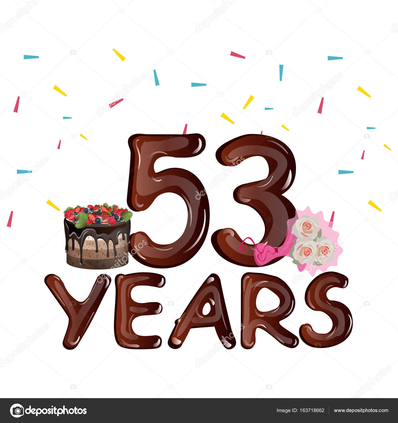 53 Years Birthday Design for greeting cards — Stock Vector