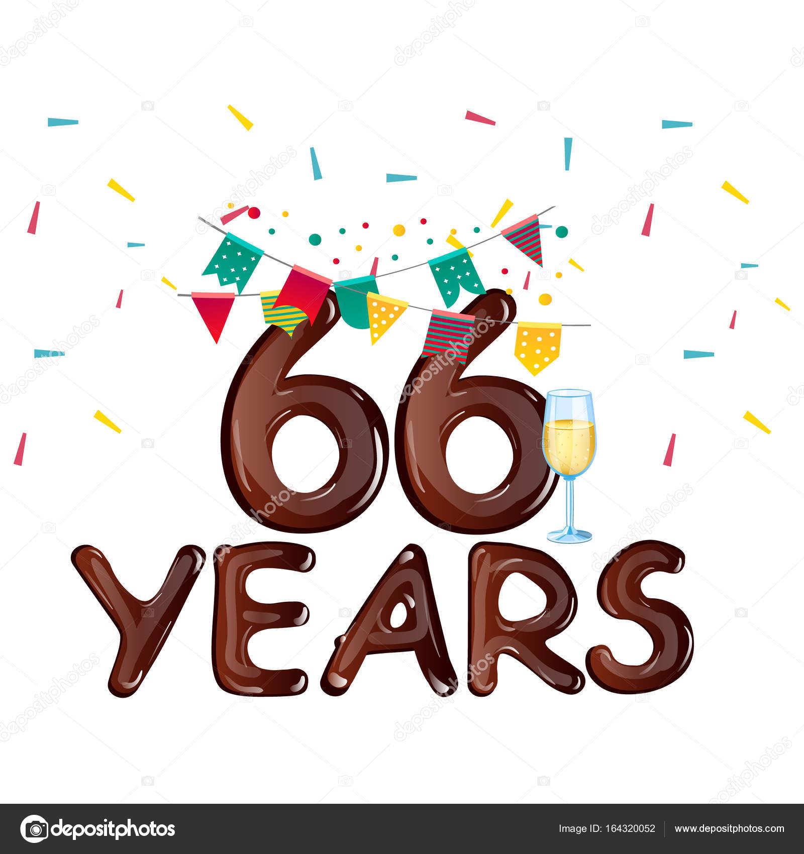 66 years anniversary celebration greeting card. Vector illustration —  Vector by sasha_zerg
