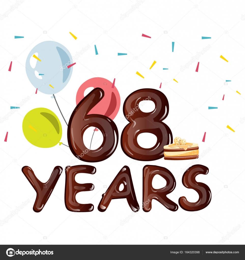 68 jaar kaart van de groet van viering van de verjaardag van 68 jaar  68 jaar