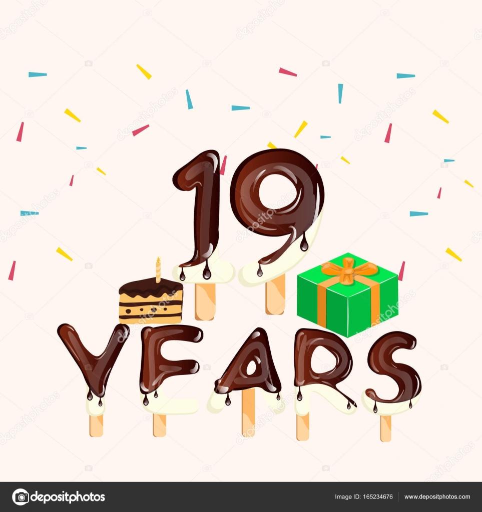 grattis 19 år 19 år årsdagen kort. Grattis på födelsedagen — Stock Vektor  grattis 19 år