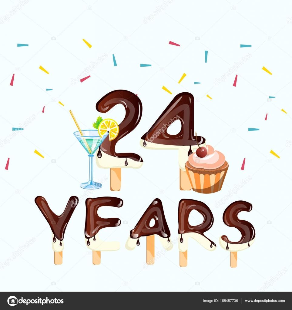 24 Nummer Gelukkige Verjaardag Wenskaarten Stockvector