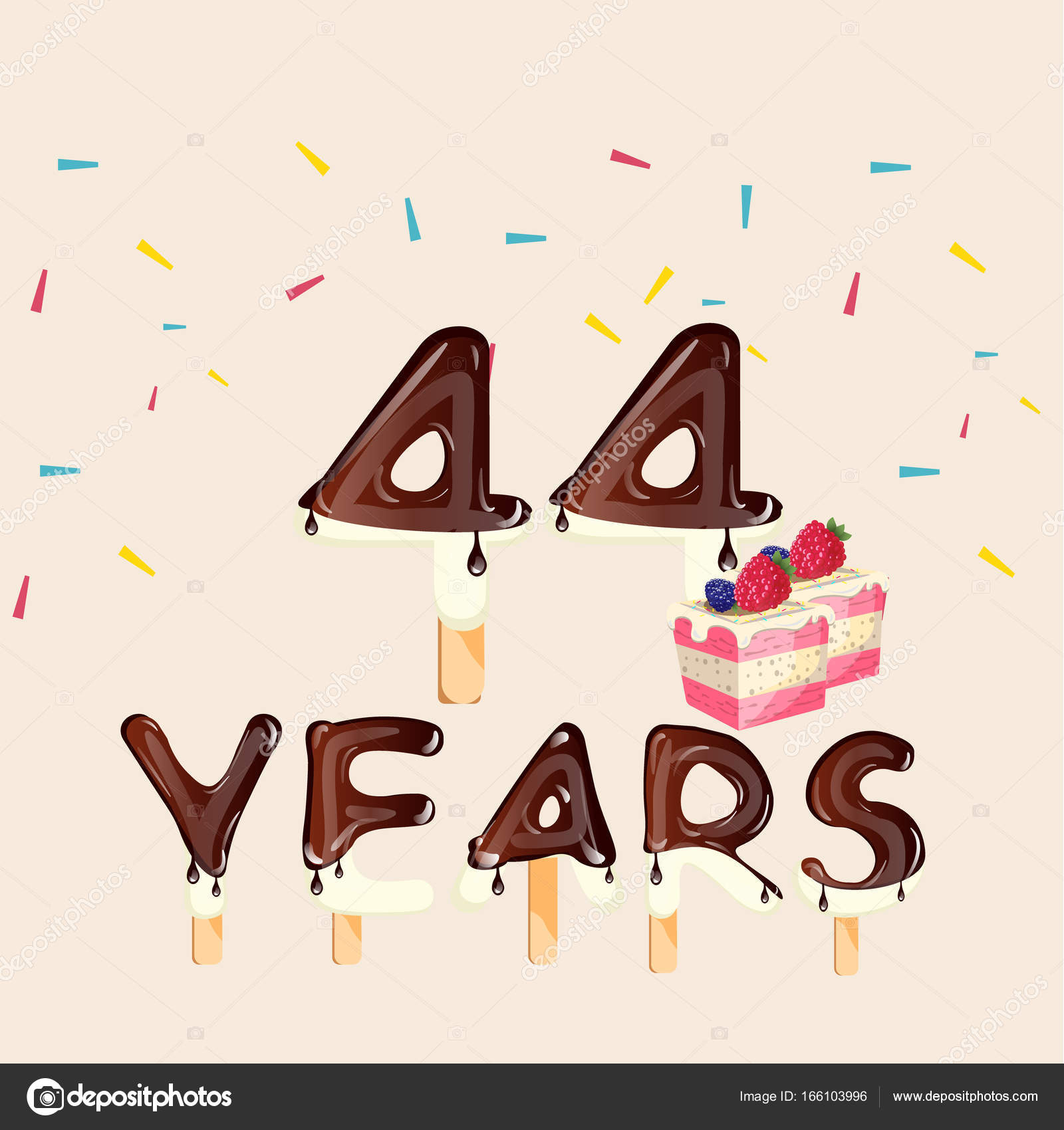44th wedding anniversary stock vectors royalty free 44th wedding 44 years happy birthday card royalty free stock illustrations biocorpaavc Gallery