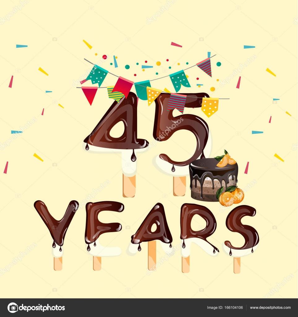 grattis 45 år 45 år Grattis på födelsedagen kort — Stock Vektor © sasha_zerg  grattis 45 år