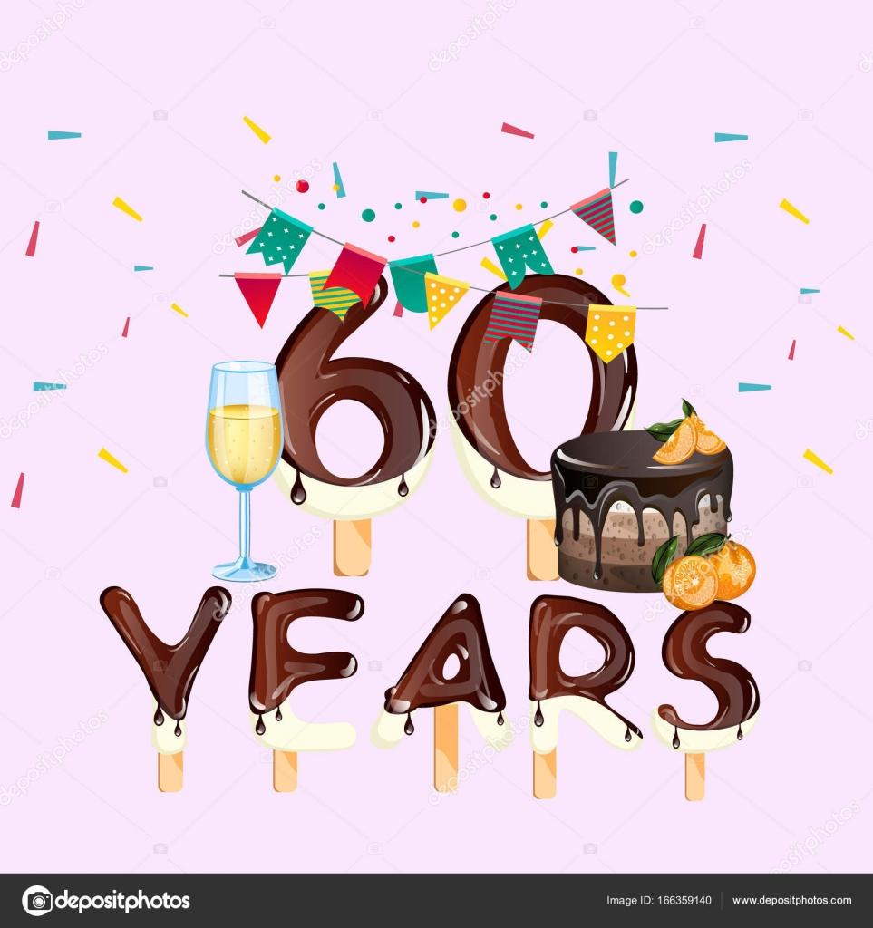 grattis på 60 årsdagen 60 år Grattis på födelsedagen kort — Stock Vektor © sasha_zerg  grattis på 60 årsdagen