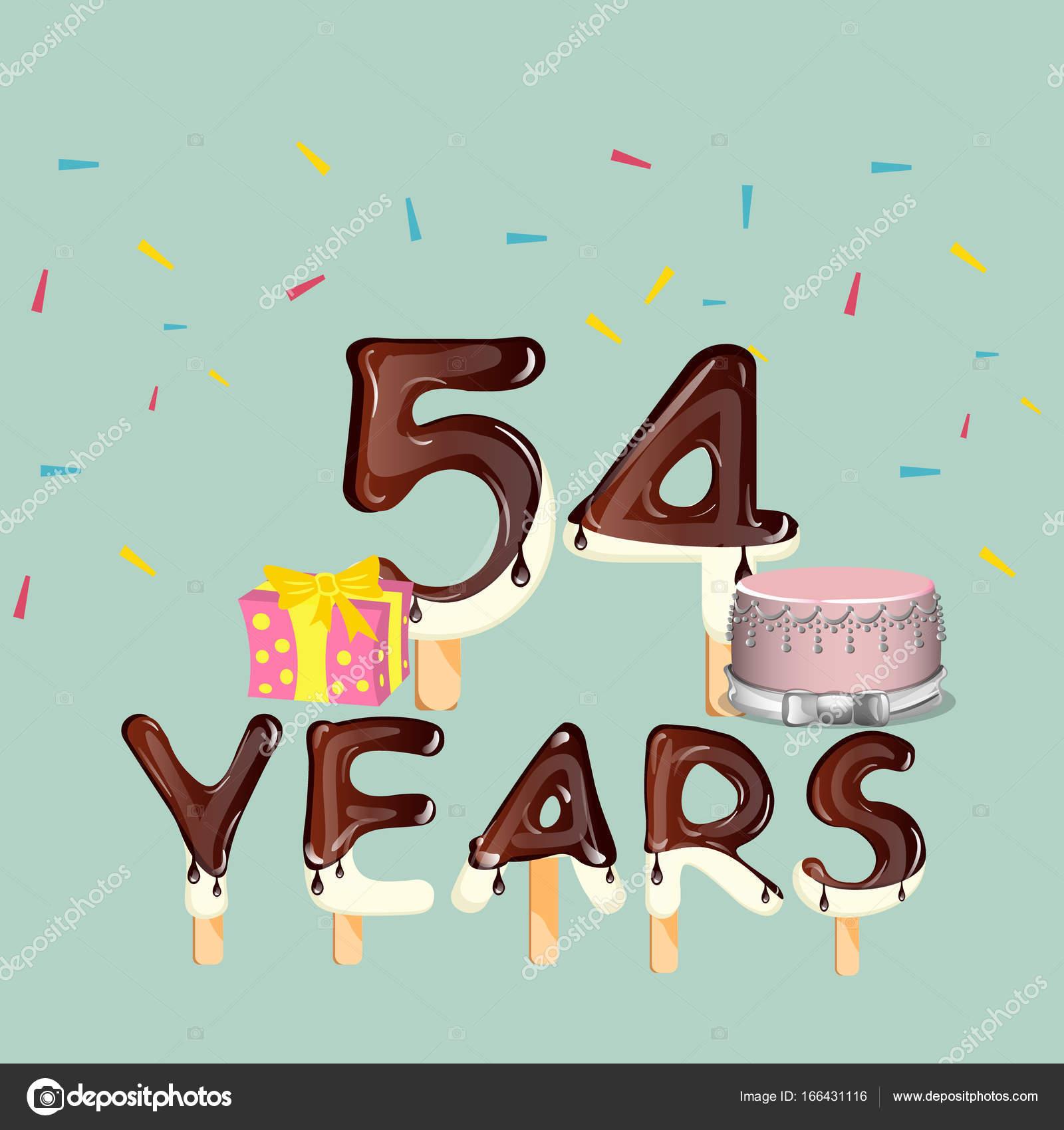 54 jaar 54 jaar Happy Birthday kaart — Stockvector © sasha_zerg #166431116 54 jaar
