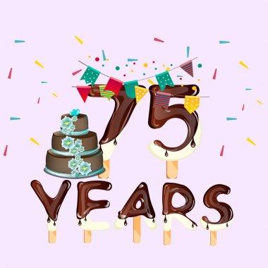 75 years Happy Birthday card