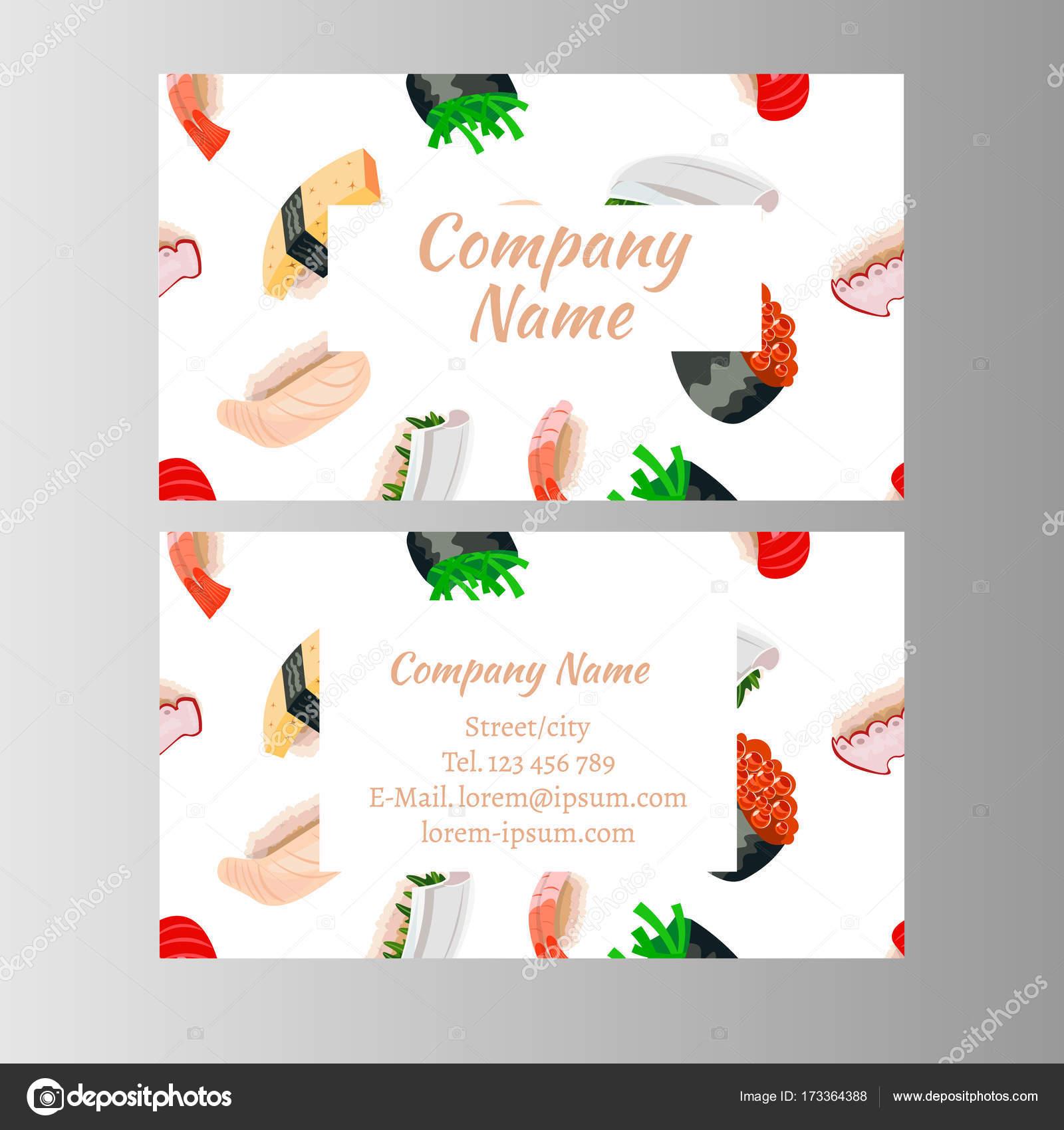 Carte De Visite Restaurant Cuisine Japonaise Illustration Vectorielle Vecteur Par Sasha Zerg