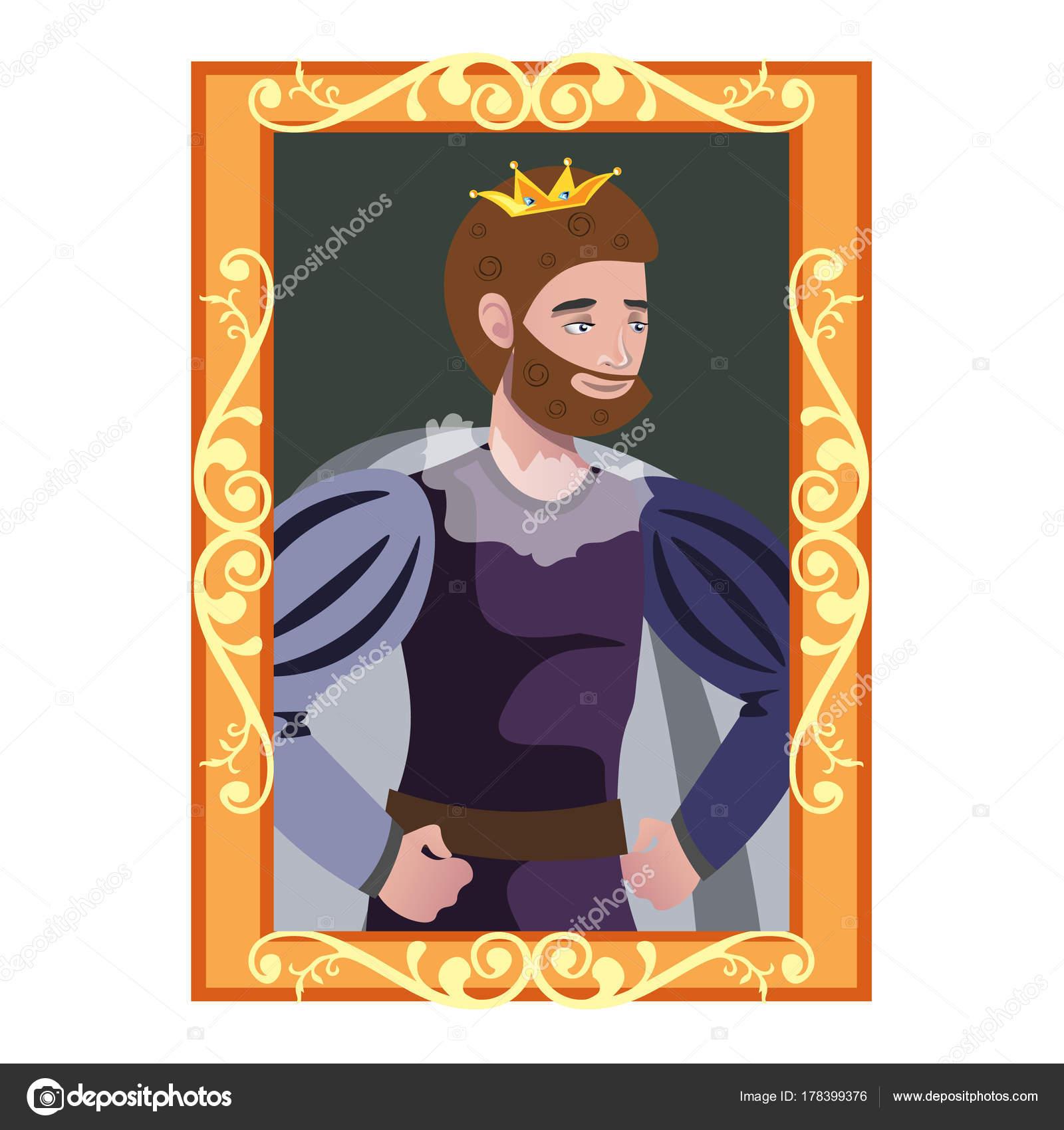Retrato de caricatura de rey en marco de oro — Archivo Imágenes ...