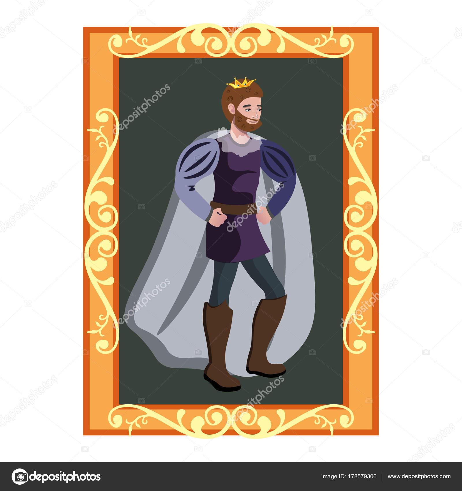 Rey de corona en marco de oro — Archivo Imágenes Vectoriales ...