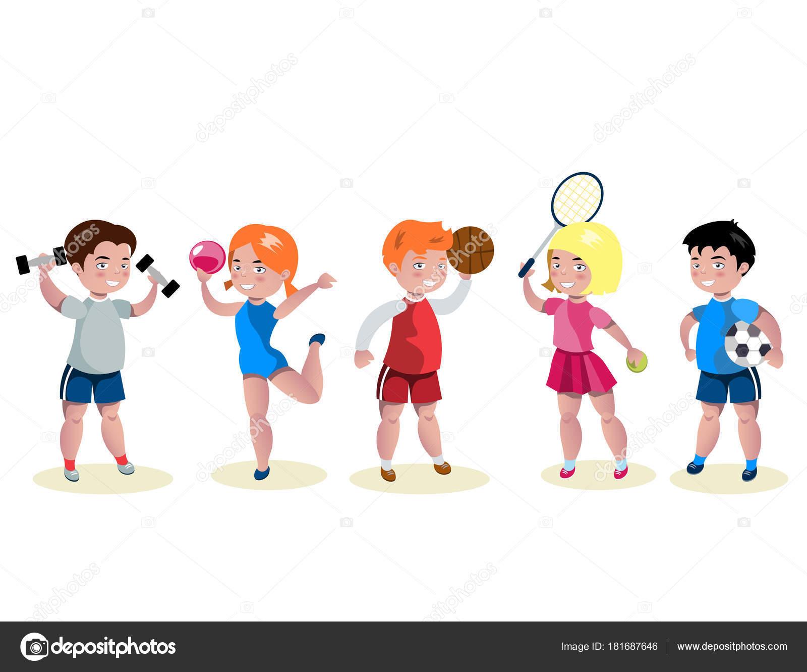 ensemble de caract res de dessin anim enfants sport image vectorielle sasha zerg 181687646. Black Bedroom Furniture Sets. Home Design Ideas