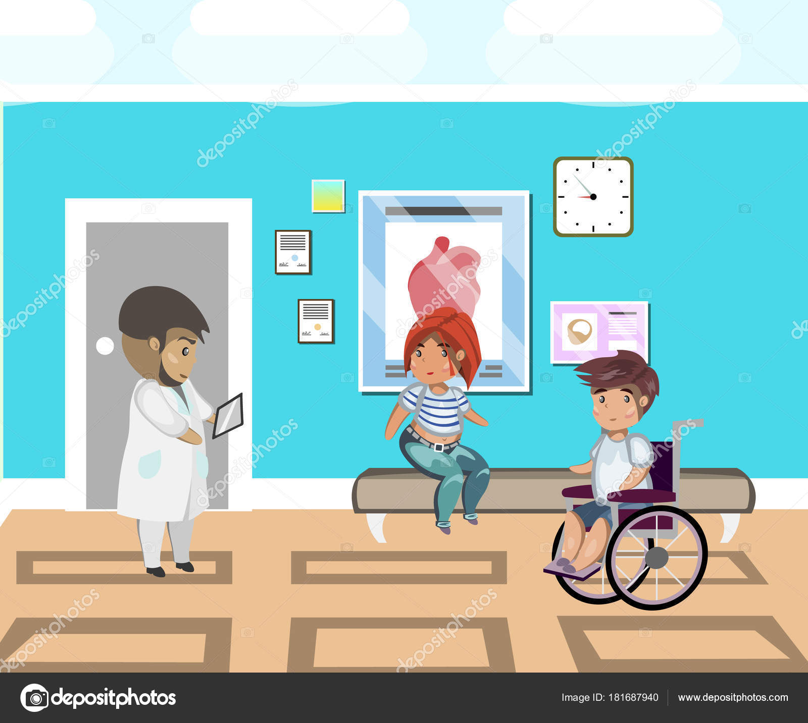 Menschen-Linie im Krankenhaus und Arzt — Stockvektor © sasha_zerg ...