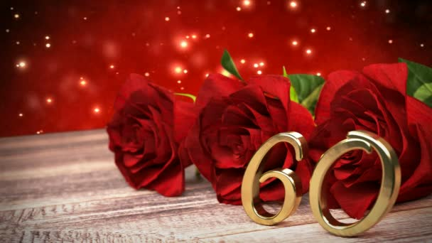 Bezešvá smyčka birthday pozadí s červenými růžemi na dřevěné desce. šedesáté narozeniny. 60. 3d vykreslení