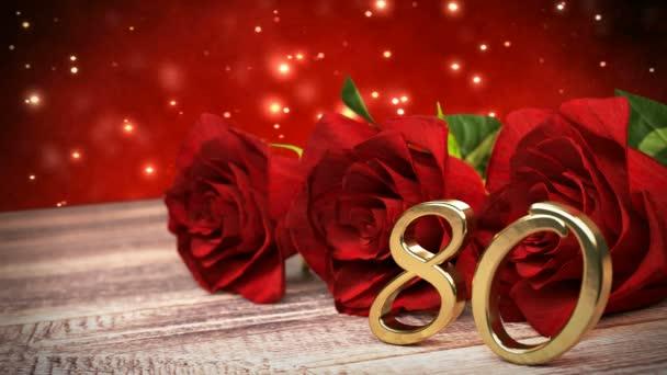 Bezešvá smyčka birthday pozadí s červenými růžemi na dřevěné desce. Osmdesáté narozeniny. 80. 3d vykreslení