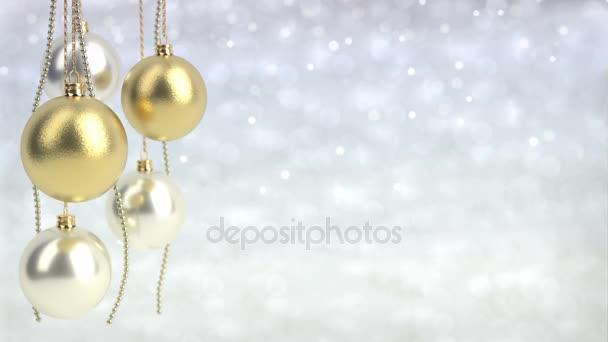 zlaté a stříbrné vánoční koule s pozadím bokeh. Bezešvá smyčka. 3D vykreslování