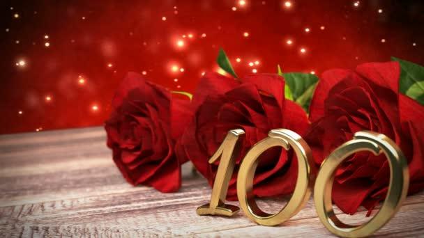 Bezešvá smyčka birthday pozadí s červenými růžemi na dřevěné desce. sté narozeniny. 90. 3d vykreslení
