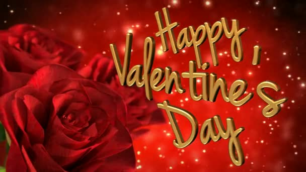 Boldog Valentin-nap témája a vörös rózsa. 3D render hurok