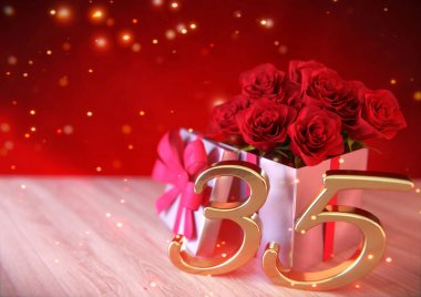 birthday concept with red roses in the gift on wooden desk. thirtyfifth. 35th. 3D render
