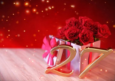 birthday concept with red roses in the gift on wooden desk. twenty-seventh. 27th. 3D render