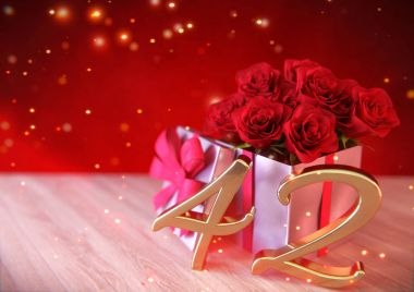 birthday concept with red roses in the gift on wooden desk.forty-second. 42nd. 3D render