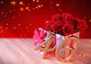 birthday concept with red roses in the gift on wooden desk. forty-sixth. 46th. 3D render