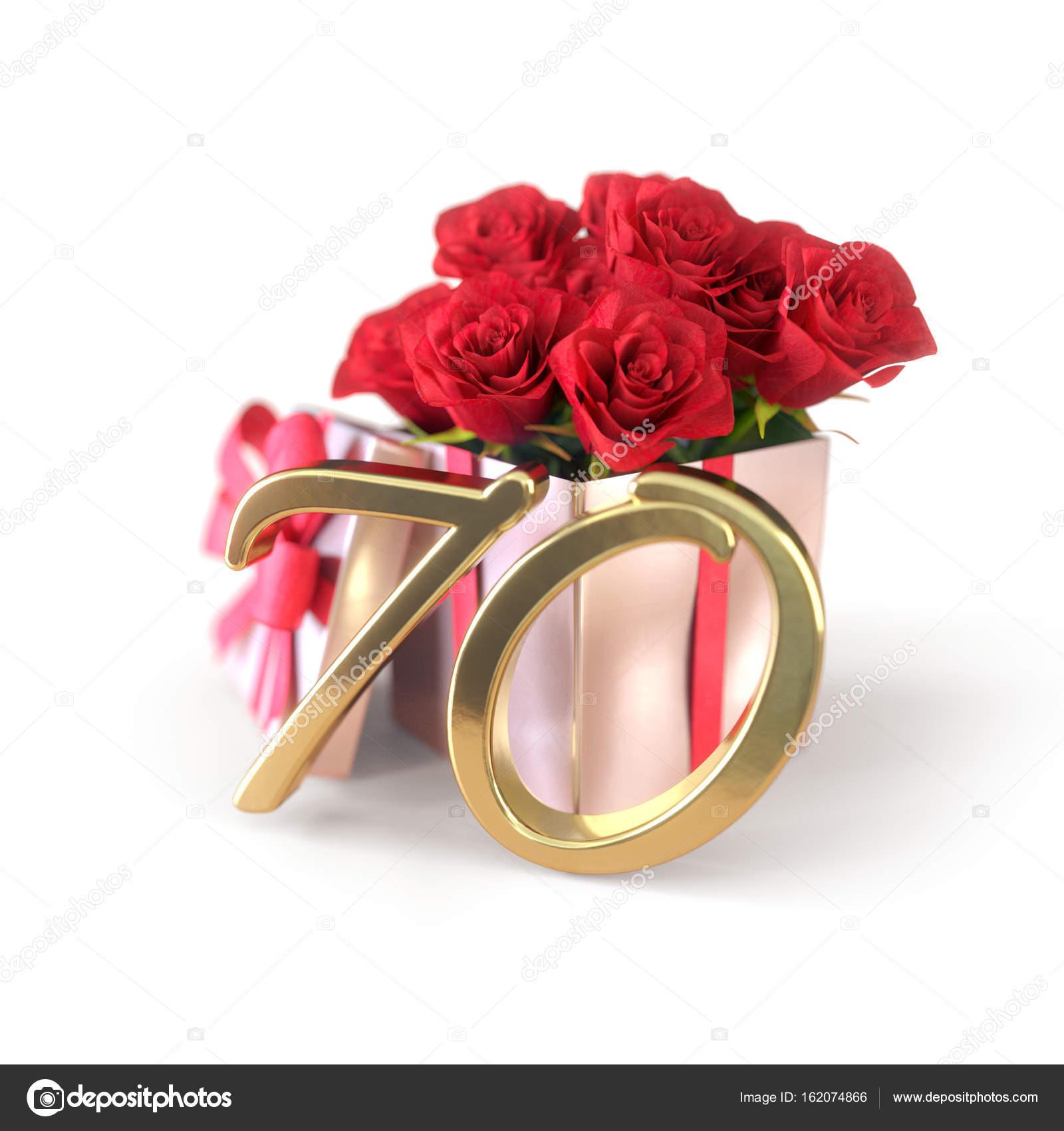 Geburtstag Konzept Mit Roten Rosen In Geschenk Isoliert Auf Weissem