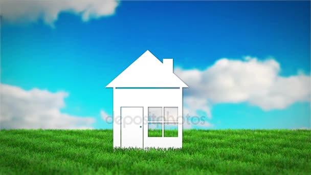 papírové dům na travnaté hřiště. 3D vykreslení animace