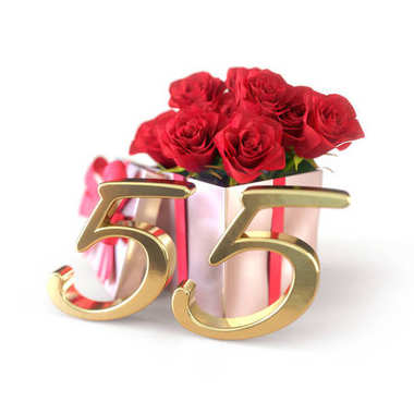 birthday concept with red roses in gift isolated on white background. fifty-fifth. 55th. 3D render
