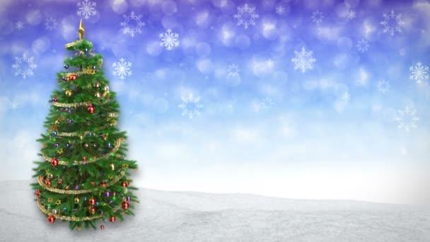 rotující vánoční strom na modré zimní pozadí. 3D render.seamless smyčka