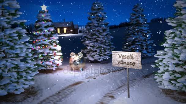 animace Kouzelná zima scény s cottage a vánoční stromeček. 3D vykreslování. Bezešvá smyčka