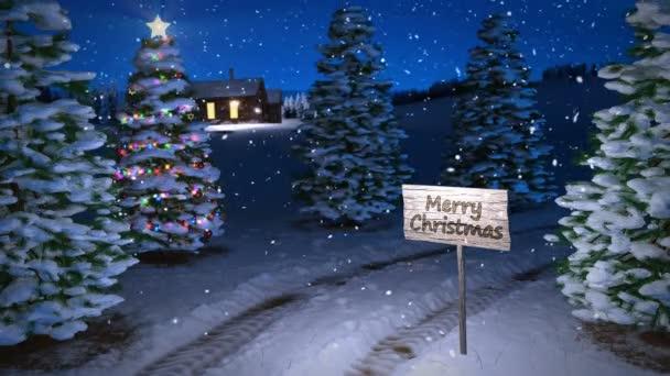 animace, kouzelné zimní scény s cottage a vánoční stromeček. 3D vykreslování. Bezešvá smyčka