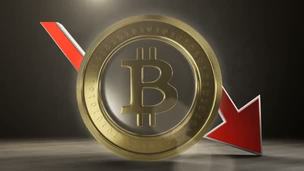 Bitcoin-Wert sinkt. 3D-Darstellung