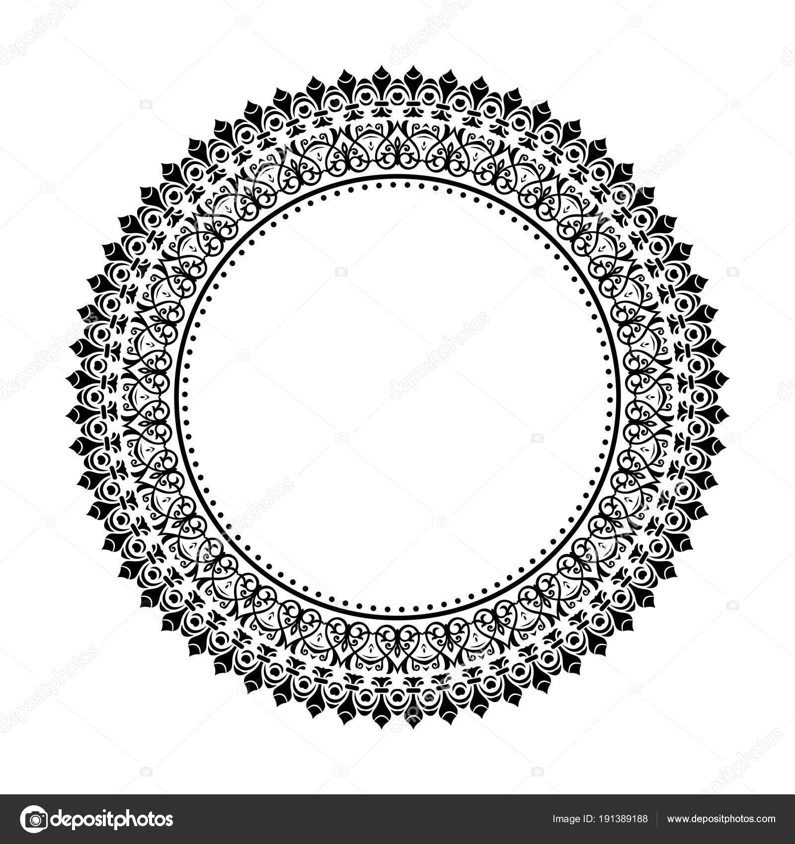 Moderne Vektor Floral Runde Rahmen — Stockvektor © turr1 #191389188