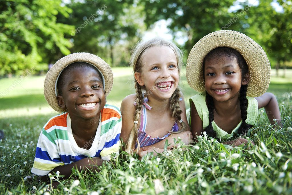 multiethnic children outdoors