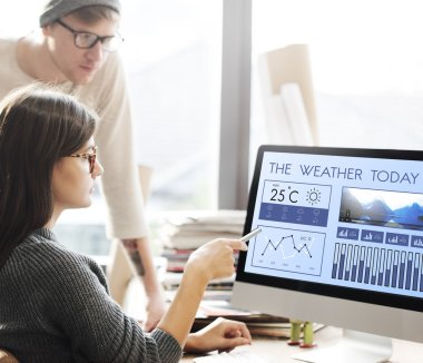 woman showing on monitor with Weather Today