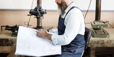 Craftsman working in workshop studio