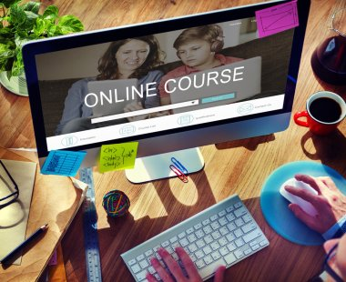 Computer with Online Course Concept
